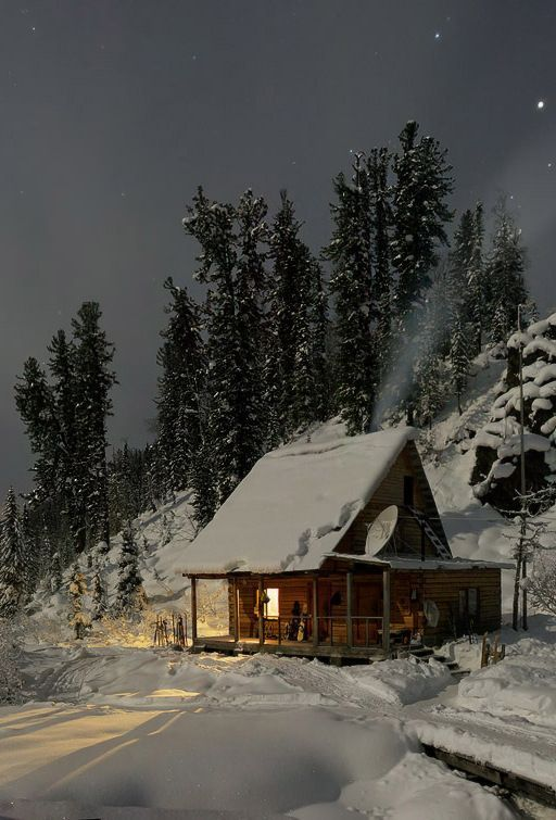 Cozy cabin in winter