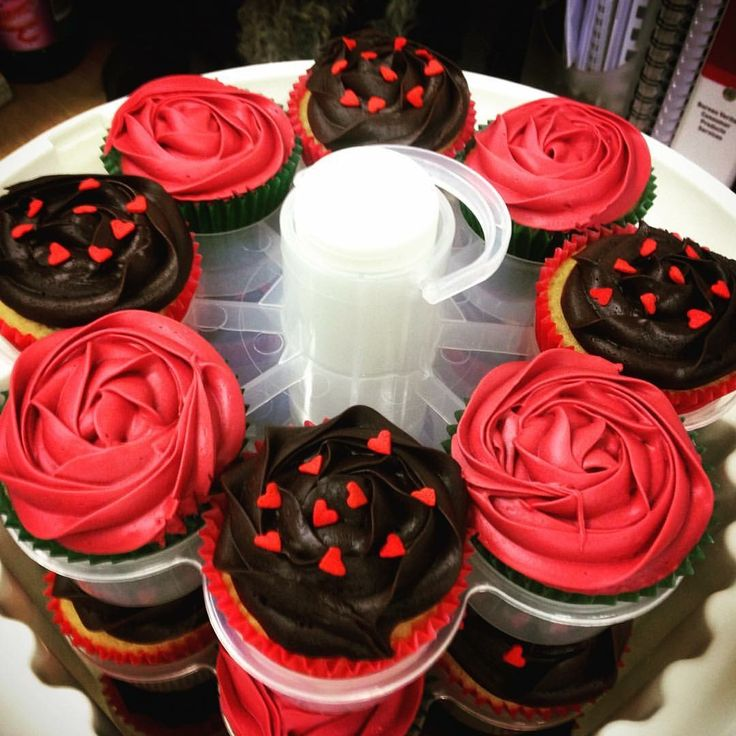 Valentine's Day cupcakes - red rose & chocolate frosting with heart sprinkles