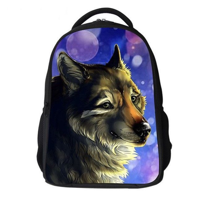 0cb634da6b 3D Children School Bags Animal Wolf Pug Dog Print Kids Backpack Cool Boys  Primary Schoolbag Casual