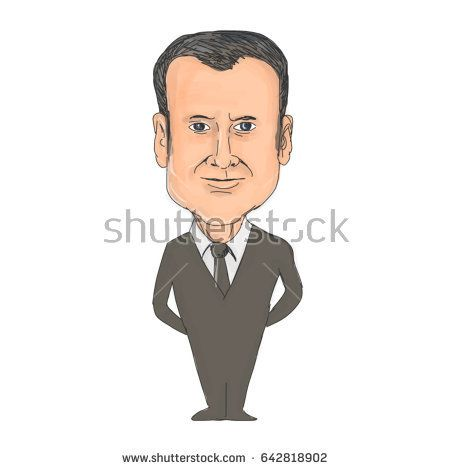 May 19, 2017: Watercolor style illustration of Emmanuel Macron, President of France viewed from front set on isolated white background done in cartoon caricature style.   #france #caricature #illustration