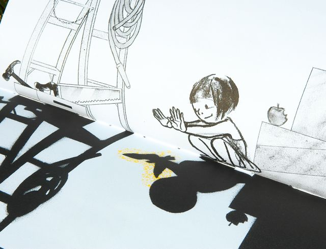 MARTY - Shadow, by Suzy Lee is about an imaginative girl who discovers a world of characters the shadows of objects. This book has no words but is told through pictures full of visual language. For example the real world is in black and white and made up of outlines while the imaginative shadow world is bold and features colour such as the yellow illuminating from the bird's shadow and contrasting with the bright blue backdrop.