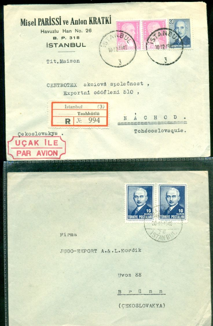 OTTOMAN TURKEY 2 COVERS REGISTERED AIRMAIL - bidStart (item 57015455 in Stamps, Europe, Turkey)