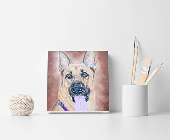 Custom pet portrait Dog painting Custom dog portrait German