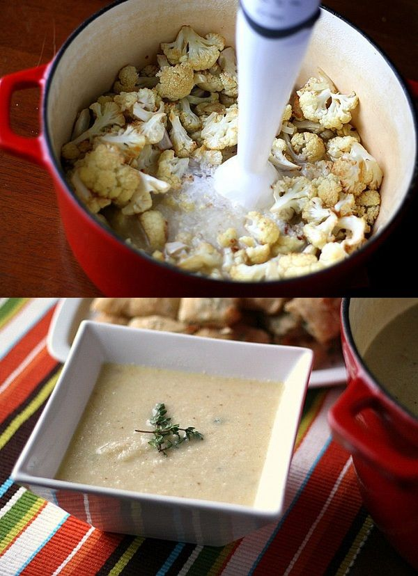 Roasted Cauliflower Soup with White Cheddar Cheese