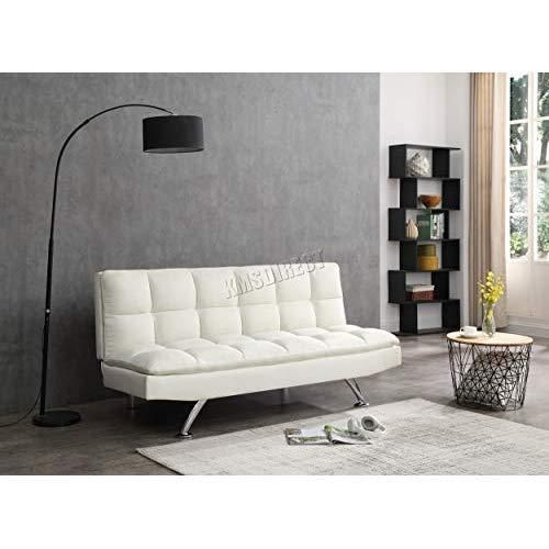 Fabric Sofa Bed Couch 3 Seater Cream Living Room Futon Settee Guest Sleep Modern Ebay S Value4moneydeals