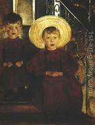 Portrait of Two Children on Steps Olga Boznanska