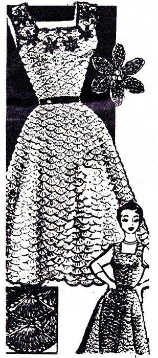 Vintage Crochet PATTERN Evening Dress Jumper Shell Stitch