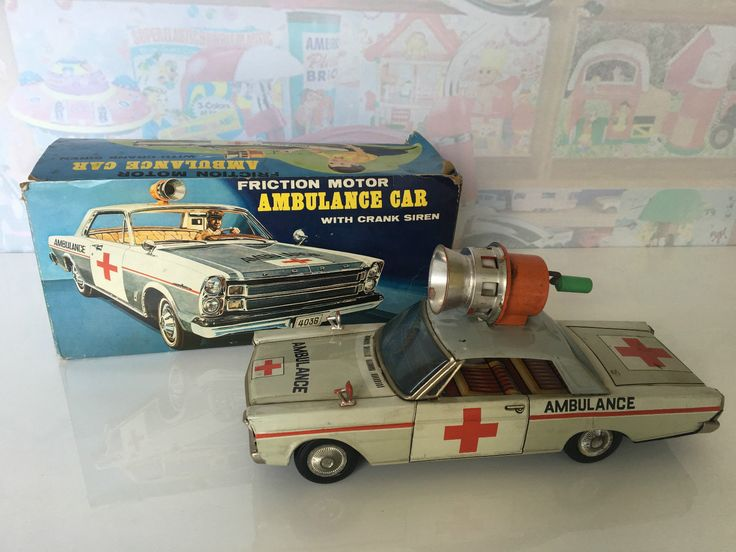 Vintage Tin Toy Masudaya MT Modern Toys Ambulance Ford Car Crank Siren Japan BOX | eBay