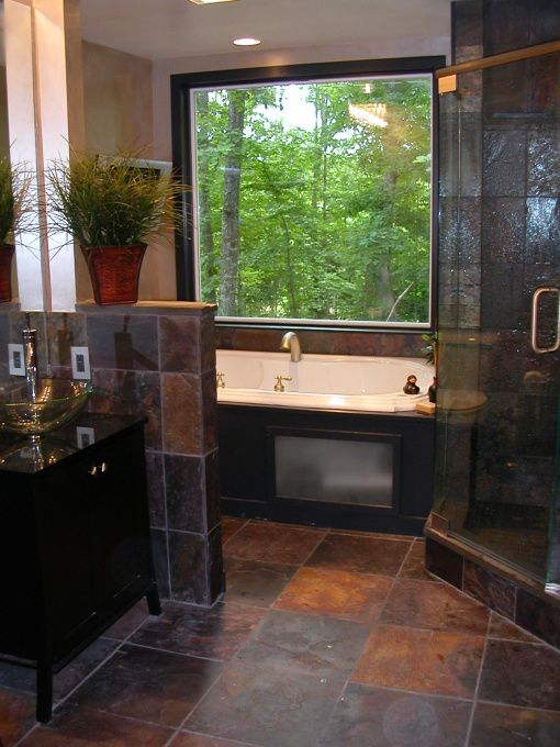 Love Slate Tile And The Layout Of The Bathroom.