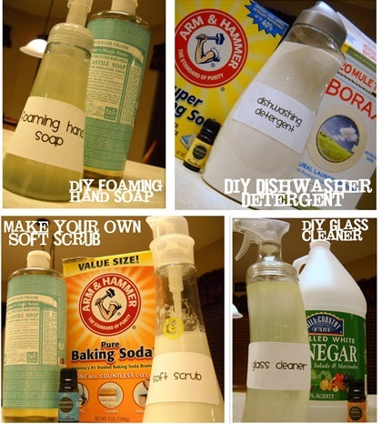 Make your own soft scrub, dry foaming hand soap, dishwasher detergent or glass cleaner #diy #cleaners