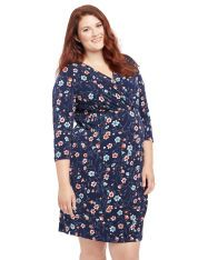 Plus Size Floral Print Faux Wrap Maternity Dress