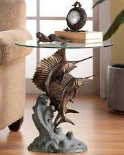 Marlin & Sailfish Accent End Table Nautical Coastal Tropical Sculpture~ SPI Home