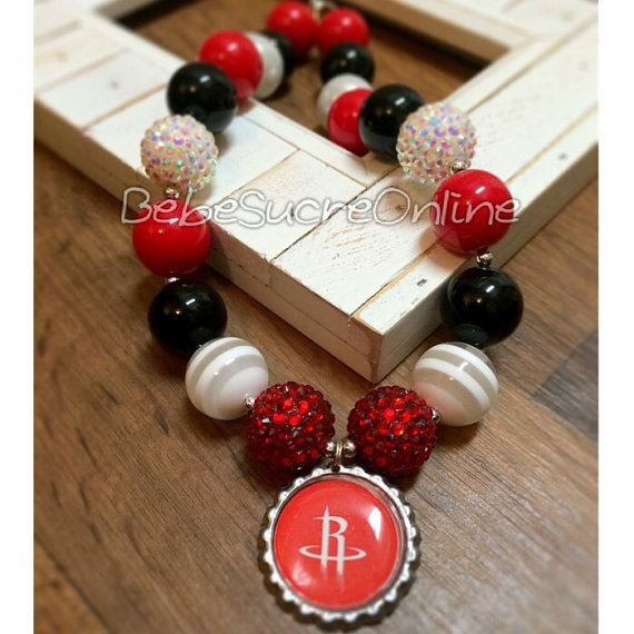 Houston Rockets Chunky Bubblegum Necklace by BebeSucreOnline