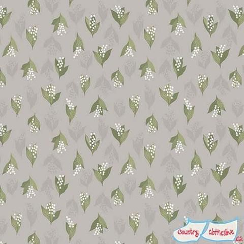 Flo's Wildflowers Lily of the Valley on dove grey fabric by Lewis & Irene
