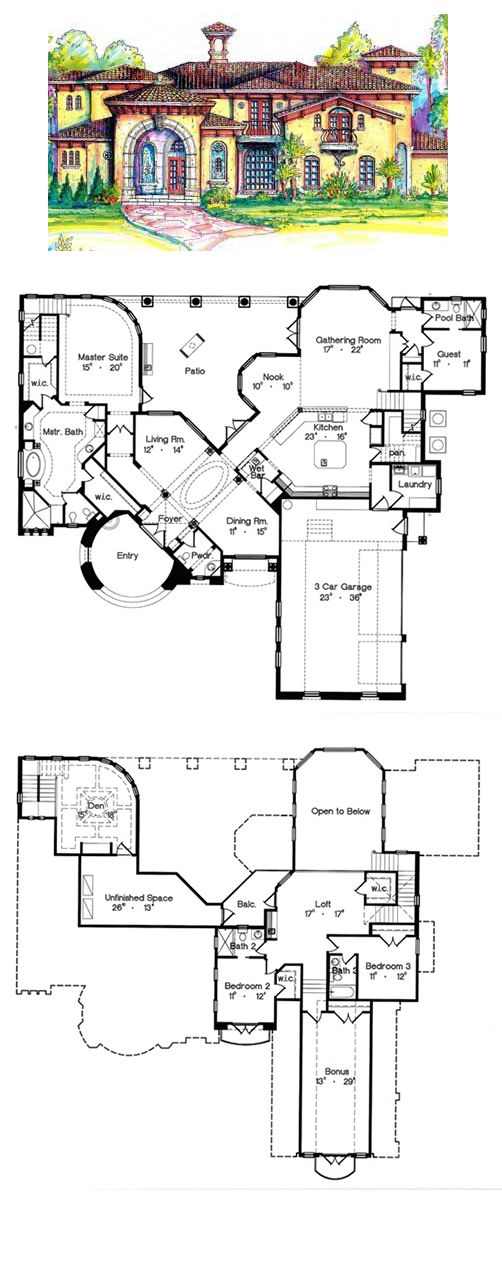 Italian House Plan 64666 | Total Living Area: 3908 sq ft, 4 bedrooms & 4.5 bathrooms. #italian #houseplans