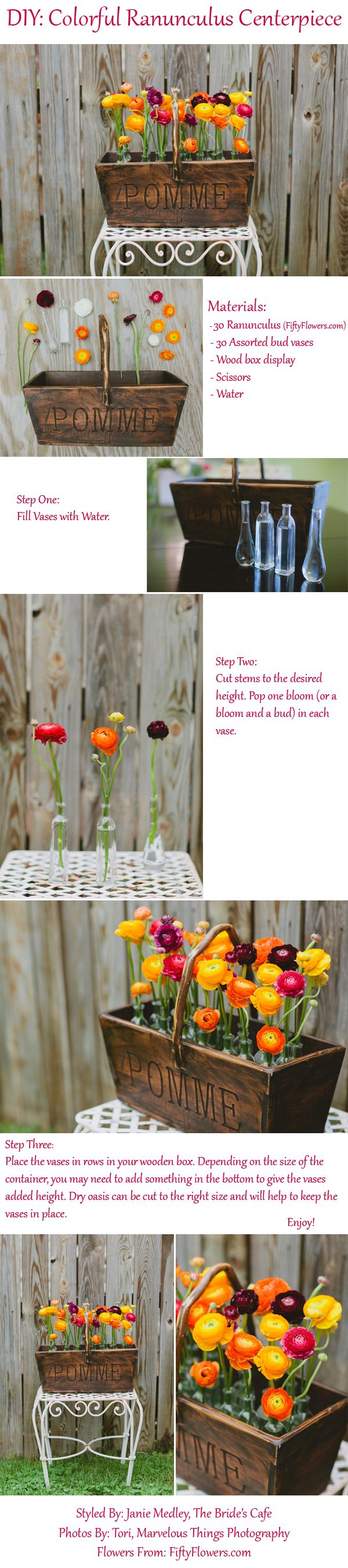 DIY: Ranunculus Centerpiece! This Easy, Colorful Centerpiece will add Pops of Bright Color to any wedding or event!