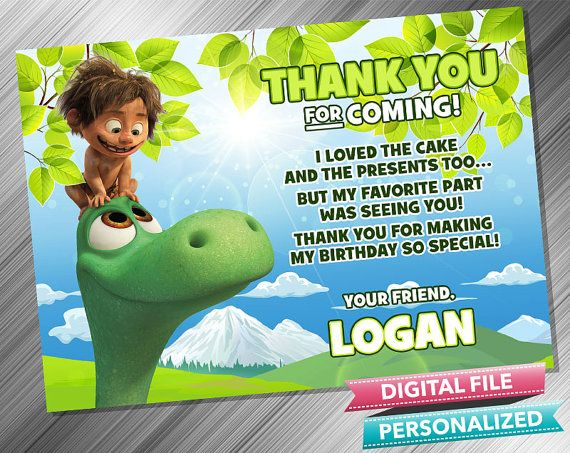 Good Dinosaur Thank you card  Good Dinosaur by kidspartydiy