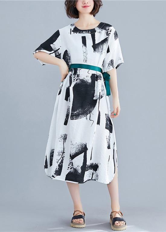 Chic o neck tie waist cotton dresses white print Plus Size Dress summer