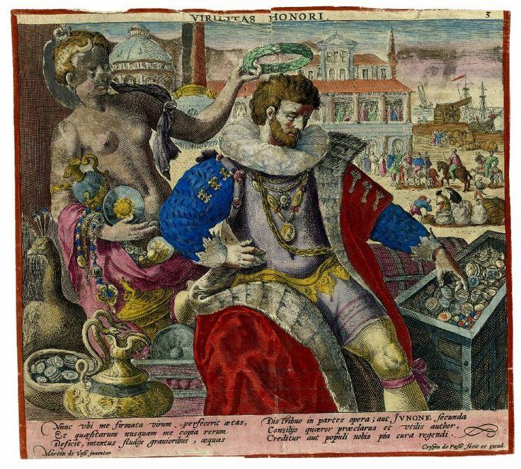 """""""Virilitas Honori"""" by Crispijn de Passe after Marten de Vos 1596"""