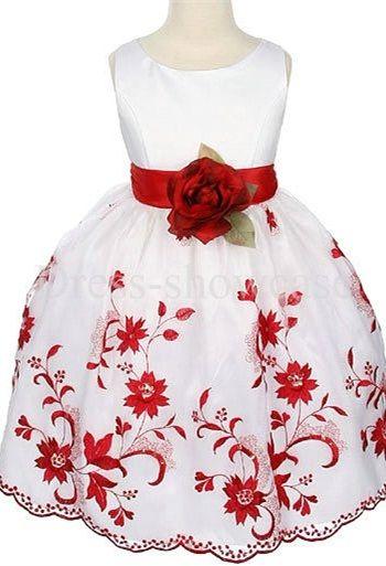 Beautiful Floor-Length Ball Gown Scoop Fall White Flower Girl Dress #flowergirls #flowergirldress #cutedress #dress #beauty #cute #wedding #birthdaydress