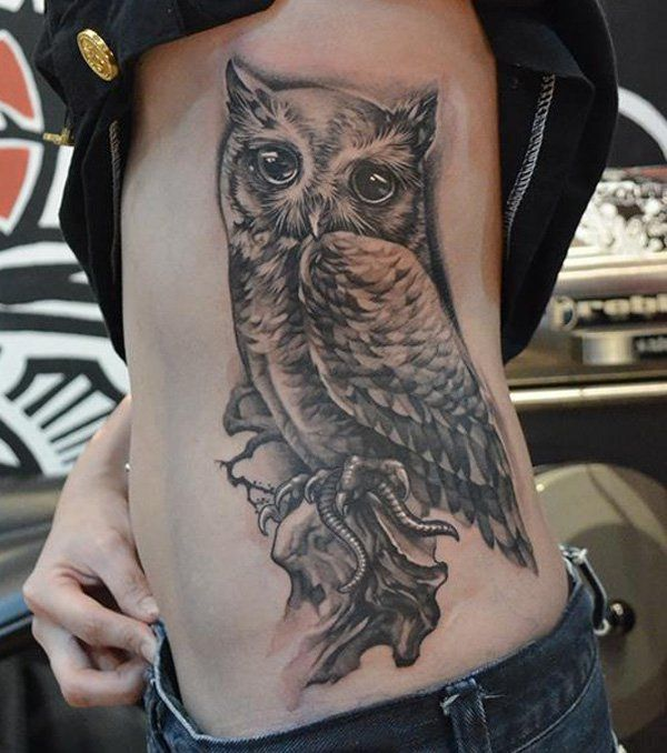 Owl Tattoo on Side - 55 Awesome Owl Tattoos | Art and Design