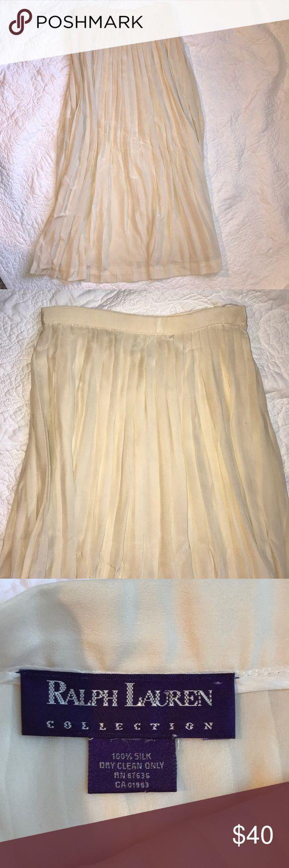 Ralph Lauren Silk Pleated Maxi Skirt Size Small Ralph Lauren Cream Silk Pleated Maxi Skirt Size Small Ralph Lauren Skirts Maxi