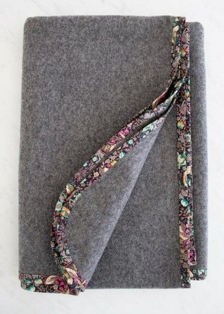 "Purl Soho suggests ""Pure + Simple Wool Blankets"" of felted wool with Liberty of London lawn bindings."
