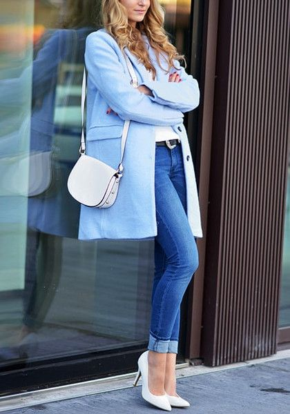 Fall in love with this light blue double-breasted coat. It has notched lapel, blue lining and patch pockets. Be ready to jazz up your office attire with this coat. | Lookbook Store Office Style