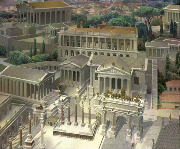 Aerial view of the Roman Forum looking SW towards the Tabularium and Temple of Jupiter, c360 CE, Gilbert Gorski Permalien de l'image intégrée