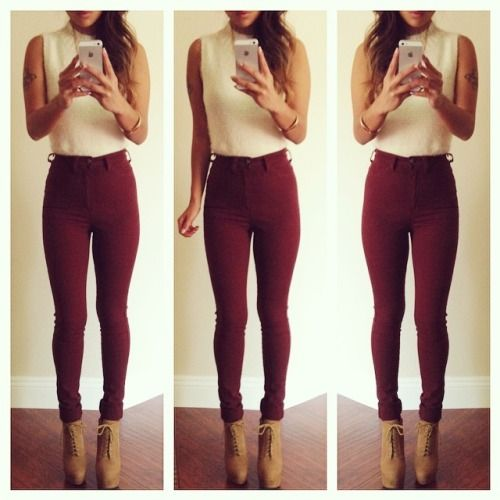 #classy #ootd #suede #wedge #boots #laceup #burgundy #cranberry #pant #pants #cutoff #tan #tattoos #warm #outfit #apple #iphone #hair #style #ombre
