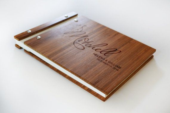 Elegant Bamboo Wedding Guest Book 8.5x11 Landscape  Bamboo is known for being eco-friendly and for its beautiful pattern. Our bamboo guest