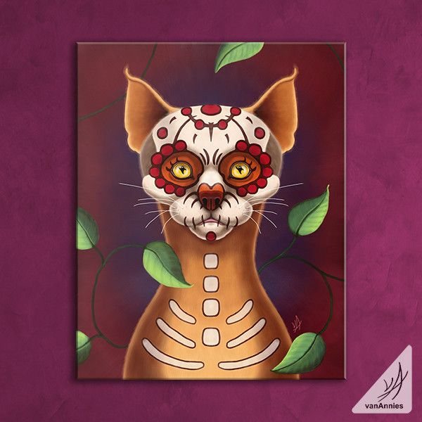 Dulce Gato the Sugar Skull Cat Wrapped Canvas Print - Chaos in Color