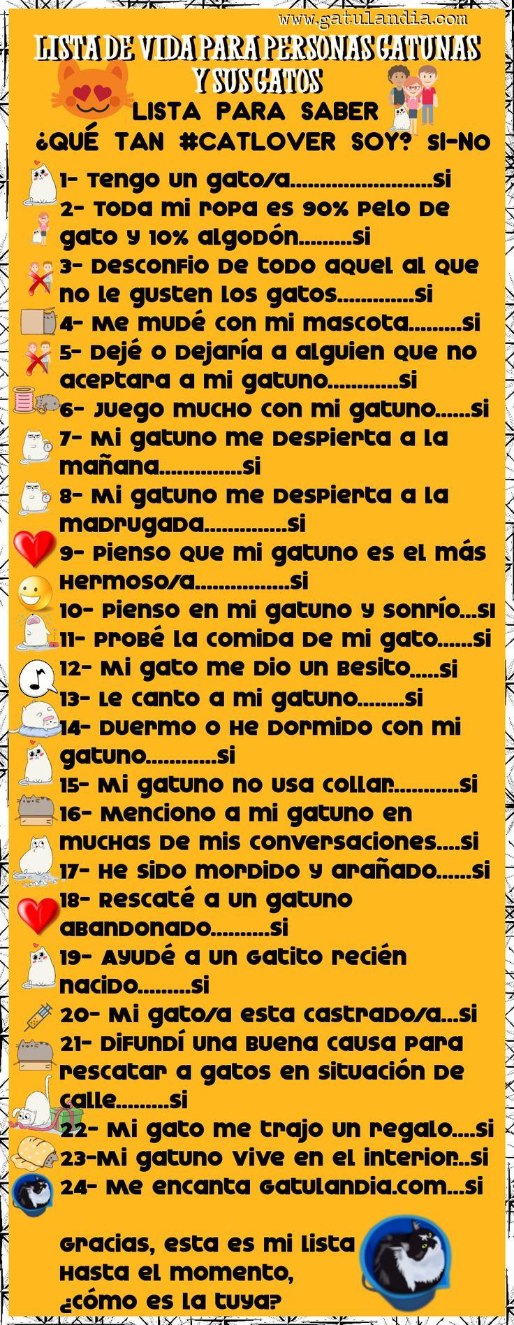 Lista Para #Personas 😻 #Gatunas y sus #Gatos <3 ¿Qué tan #CatLover eres?🤔 Responde y descúbrelo! :D (y)
