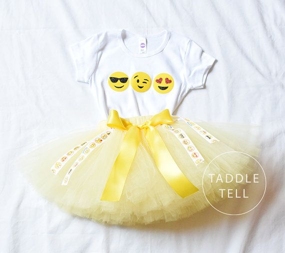 EMOJI Tutu Set - T-Shirt and Tutu Skirt - emoji lover, social media lover Newborn to 5T