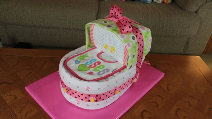 Bassinet Diaper Cake (How To Make) So cute!