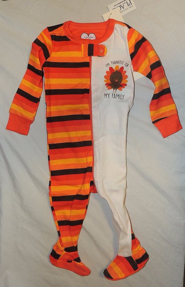 New Baby Childrens Place First Thanksgiving Pajamas 6-9 M Thankful Family Turkey #TheChildrensPlace