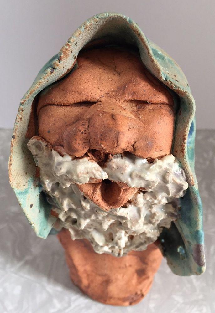 Peasant Shepherd Man With Beard And Head Scarf Handmade Art Pottery 2014