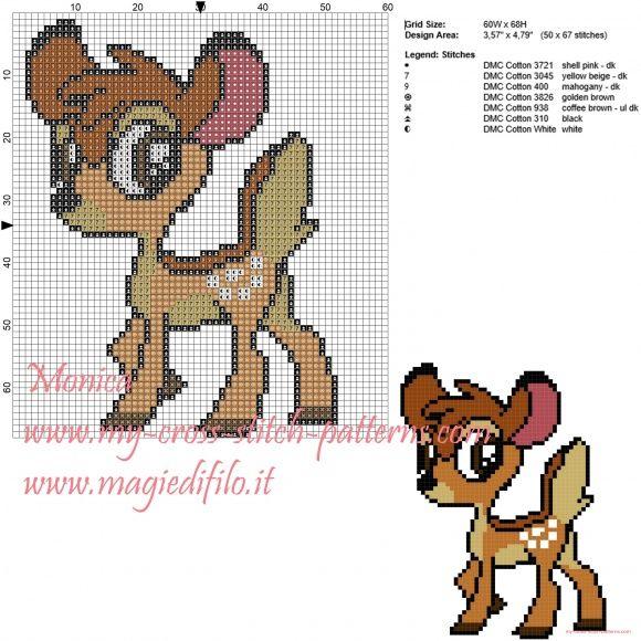 Bambi patrón punto de cruz                                                                                                                                                                                 Más
