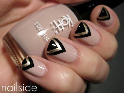 likeNude Nails, Nails Art, Gold Nails, Nails Design, Black Nails, Black Gold, Art Deco, Art Nails, Chevron Nails