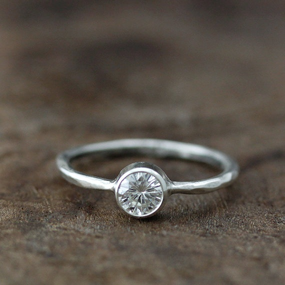 Moissanite hand carved band - recycled 14k engagement ring