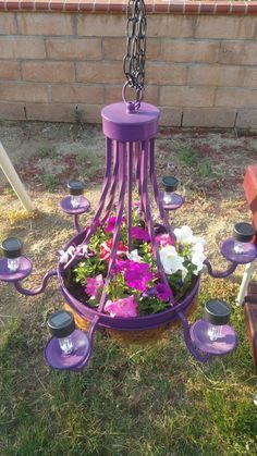 Flowers chandelier with solar lights Gardening Project Idea & Tips ...