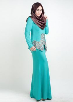 kurung saloma turqoise side
