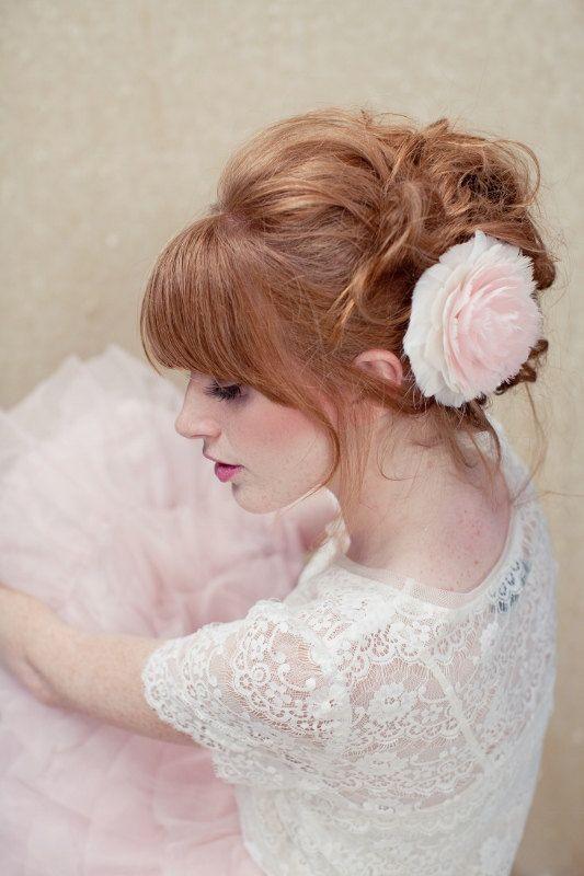 Bridal Hair Flower Pink hair flower: Pink Flower, Hair Styles, Pink Hair, Wedding Ideas, Makeup, Beauty, Wedding Hairstyles, Updo, Bridal Hair Flowers