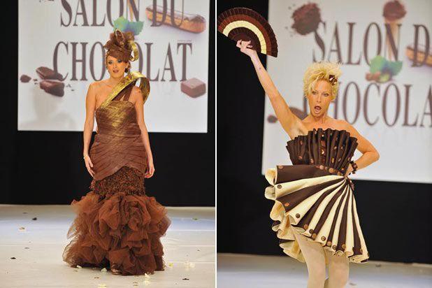 Il trionfo del cioccolato -  Quale miglior occasione del Salon du Chocolat di Parigi per presentare creazioni come queste, dove il cioccolato trova la sua sublimazione in pieghe, rouche e corpetti che fanno davvero venire l'acquolina in bocca al solo vederli