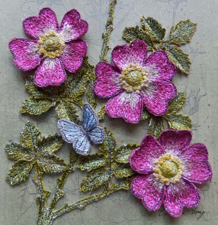 Briar Rose - 3d floral embroidery - stumpwork flower diorama by Corinne Young