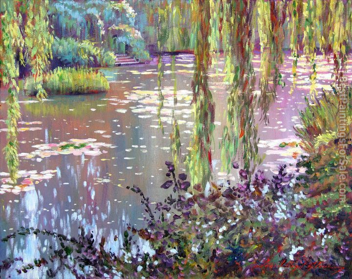This ready to hang, gallery-wrapped art piece features a pond. David Lloyd Glover has a 25 year internation reputation exhibiting in major galleries in the US, Canada, Mexico and Japan. His works have
