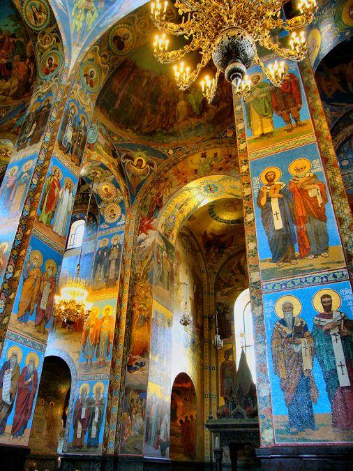 Intérieur Eglise du Sauveur sur le sang Saint-Pétersbourg, Russie