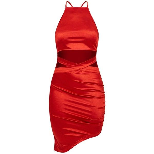Red Satin Ruched Cut Out Detail Asymmetric Bodycon Dress (€30) ❤ liked on Polyvore featuring dresses, red dresses, red satin cocktail dress, ruched bodycon dress, bodycon cocktail dresses and red body con dress