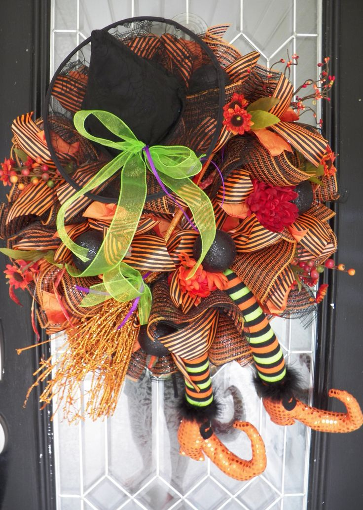 Wicked Witch Halloween Wreath, Halloween Wreath, Deco Mesh Wreath, Halloween Decoration, Last One by OccasionsBoutique on Etsy