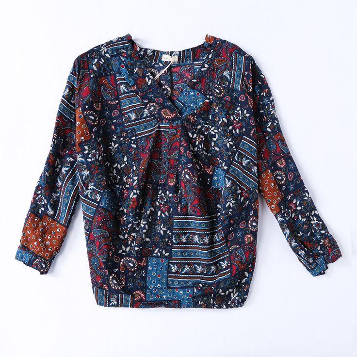 Deep V Neck Vintage Flower Print Loose Women Blouse Shirt Summer Cotton Linen Long Sleeve Khaki Elegant Female Fashion Shirts